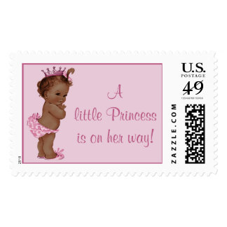 Little Princess is on Her Way Vintage Ethnic Baby Postage Stamp
