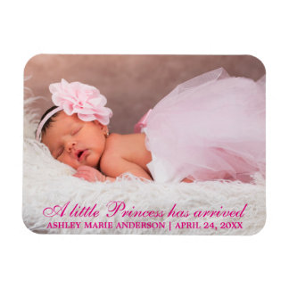 Little Princess New Baby Photo Announcement Pink Magnet