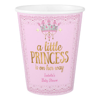 Little Princess on her way Pink Gold Tiara Party Paper Cup