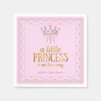 Little Princess on her way Pink Gold Tiara Party Paper Napkin
