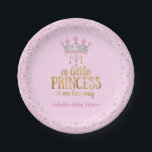 "Little Princess on her way Pink Gold Tiara Party Paper Plate<br><div class=""desc"">Little Princess is on her way Pink Gold Tiara. Dinner, Snacks, Cakes, food. Little Princess is on her way Pink Gold Tiara. Little Princess is on her way Royal Pink Gold Silver Tiara. Faux Gold Foil Writing. Girl Baby Shower. Little Princess is on her way. Girl Baby Shower Party Products....</div>"