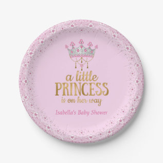 Little Princess On Her Way Pink Gold Tiara Party Paper Plate at Zazzle