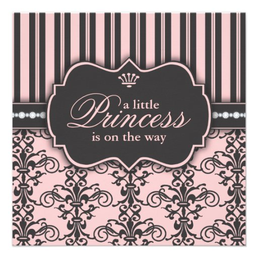 Little Princess on the Way Pink Black Baby Shower Personalized Invitation