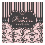 "Little Princess on the Way Pink Black Baby Shower 5.25"" Square Invitation Card"