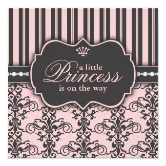"""Little Princess on the Way Pink Black Baby Shower 5.25"""" Square Invitation Card"""
