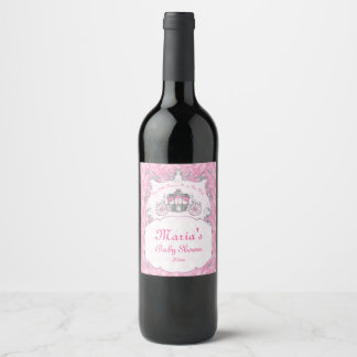 Little Princess, Pink Baby Shower Wine Label