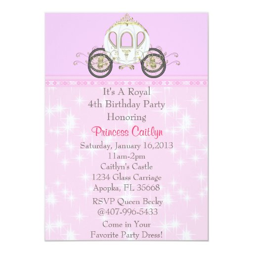 Little Princess Pink Carriage Invitation