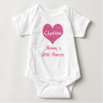 Little Princess Pink Heart Personalized Name Baby Bodysuit