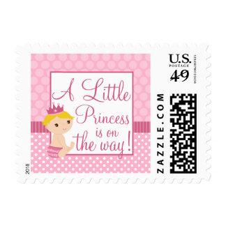 Little Princess Pink Polka Dot Girl Baby Shower Postage Stamp