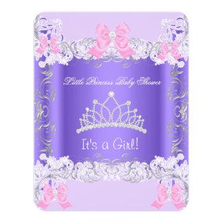 Little Princess Pink Purple Gray Girl Baby Shower 4.25x5.5 Paper Invitation Card