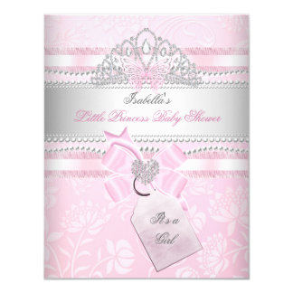 Little Princess Pretty Baby Shower Girl Butterfly 4.25x5.5 Paper Invitation Card