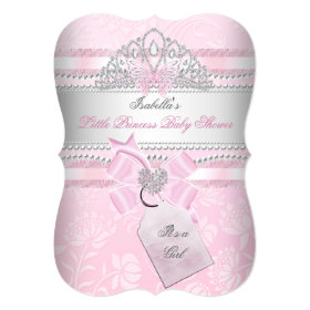 Little Princess Pretty Baby Shower Girl Butterfly 5x7 Paper Invitation Card