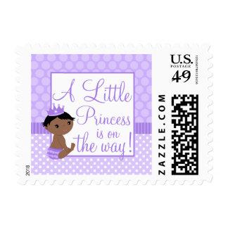 Little Princess Purple Polka Dot Girl Baby Shower Postage Stamp