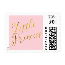 Little Princess Quote Faux Gold Foil Glitter Pink Postage