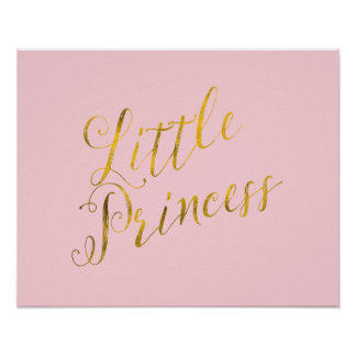 Little Princess Quote Faux Gold Foil Glitter Pink Poster