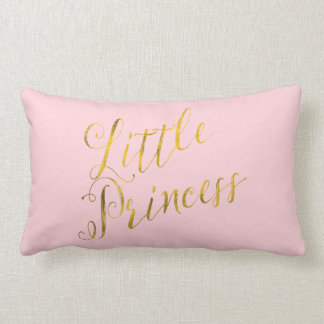 Little Princess Quote Faux Gold Foil Glitter Pink Throw Pillow