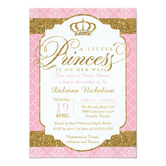 Little Princess Royal Pink and Gold Baby Shower 5x7 Paper Invitation Card