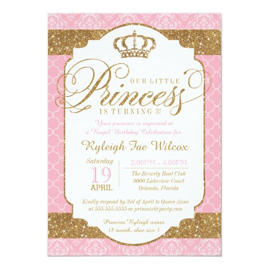little princess royal pink and gold birthday invitation zazzle com