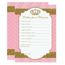 Little Princess Royal Pink & Gold Wishes for Baby Card