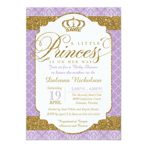 princess royal purple and gold baby shower 5x7 paper invitation card