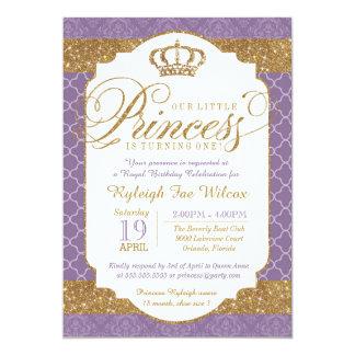 Little Princess Royal Purple and Gold Birthday Card