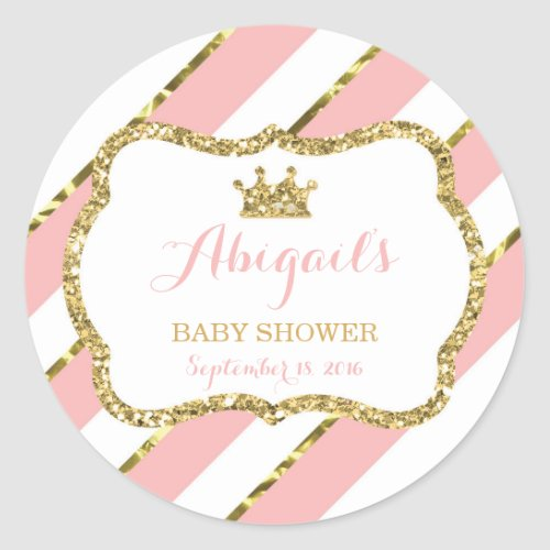 Little Princess Sticker Pink Faux Glitter Classic Round Sticker