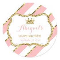 Little Princess Sticker, Pink, Faux Glitter Classic Round Sticker