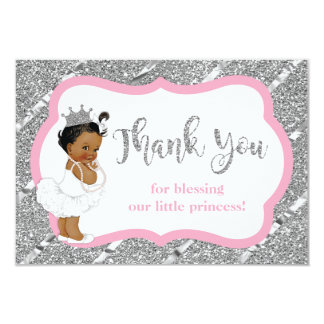 Little Princess Thank You Card, Faux Glitter Card