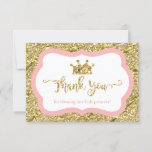 "Little Princess Thank You Card, Pink, Faux Glitter<br><div class=""desc"">Say thank you to your shower guests with this whimsical little princess themed thank you card!  The glitter and foil are embedded images and the design will print flat and without the texture of real glitter or foil.</div>"