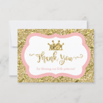 Little Princess Thank You Card, Pink, Faux Glitter
