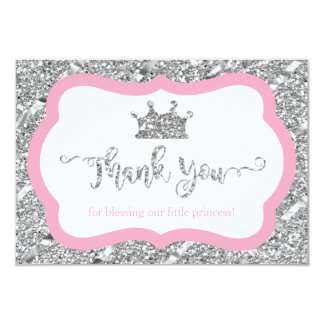 Little Princess Thank You Card, Pink Faux Glitter Card
