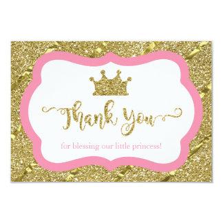 Little Princess Thank You Card, Pink, Faux Glitter Card