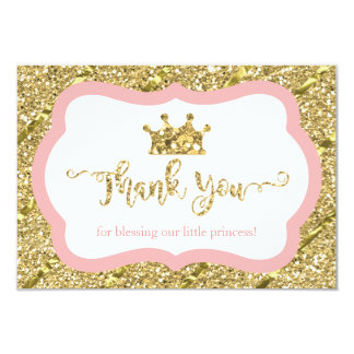Little Princess Thank You Card, Pink, Faux Glitter Card