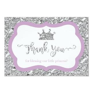 Little Princess Thank You Card Purple Faux Glitter