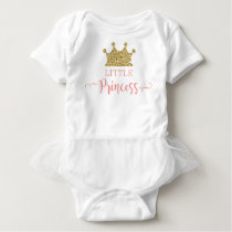 Little Princess Tutu Bodysuit, Pink and Gold Baby Bodysuit