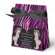 Little Princess Twins Baby Shower Zebra Pattern Favor Box