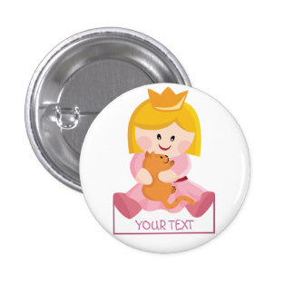 Little princess with cat, blond hair button