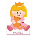 Little princess with cat, blond hair postcard