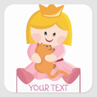 Little princess with cat, blond hair square sticker