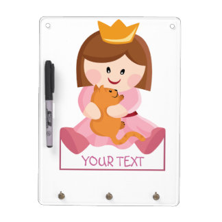 Little princess with cat brown hair dry erase board