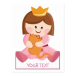 Little princess with cat brown hair postcard