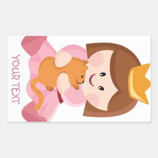 Little princess with cat brown hair rectangular sticker