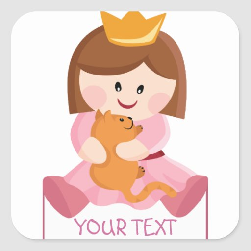 Little princess with cat brown hair square sticker