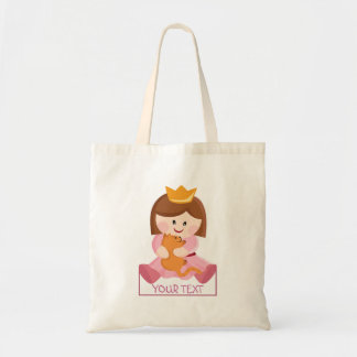 Little princess with cat brown hair tote bag