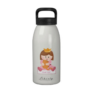Little princess with cat brown hair drinking bottle