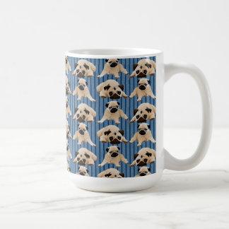 Little Pugs on Denim Stripes Classic White Coffee Mug
