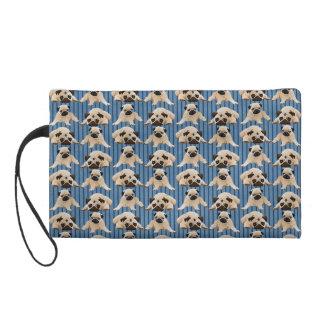 Little Pugs on Denim Stripes Wristlet