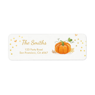 Little pumkin Address Labels Fall Autmn Gold