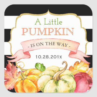 Little Pumpkin Autumn Leaves Fall Baby Shower Square Sticker