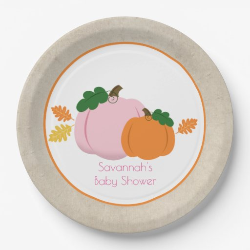 Little Pumpkin Autumn Pink and Orange Paper Plate